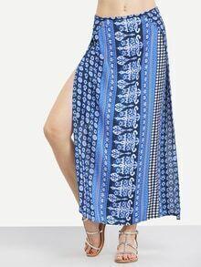 Tribal Print High Slit Long Skirt