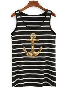 Sequin Anchor Striped Tank Top