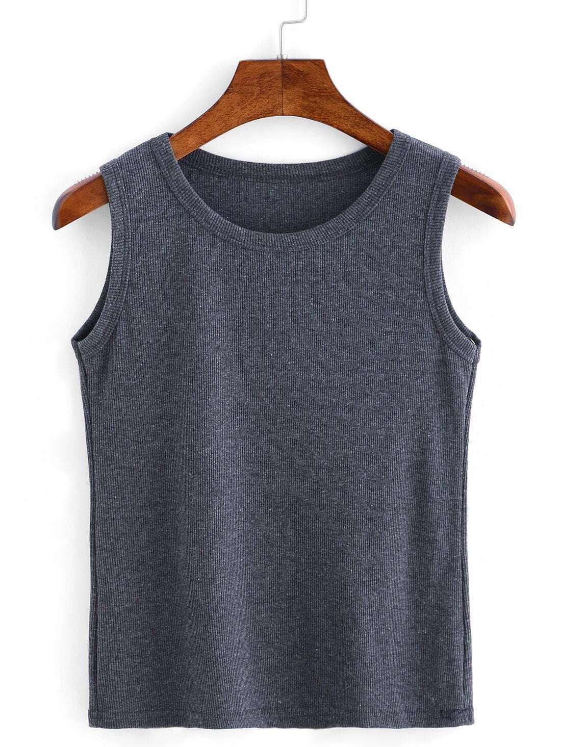Ribbed Knit Crop Tank Top - Grey sweater160505301