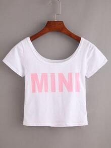 Letter Print Crop T-shirt - White