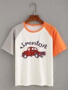 Contrast Raglan Sleeve Car Print T-shirt