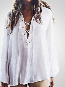 Lace-Up Neck High-Low Chiffon Blouse