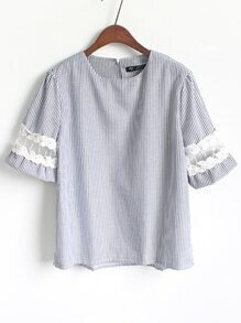 Embroidered Mesh Insert Vertical Striped Blouse