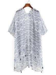 Tassel Trimmed Tribal Print Kimono