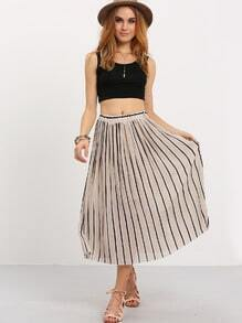 Vertical Striped Pleated Chiffon Skirt