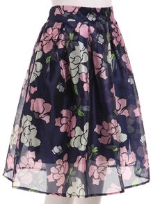 Flower Print Box Pleated Midi Skirt