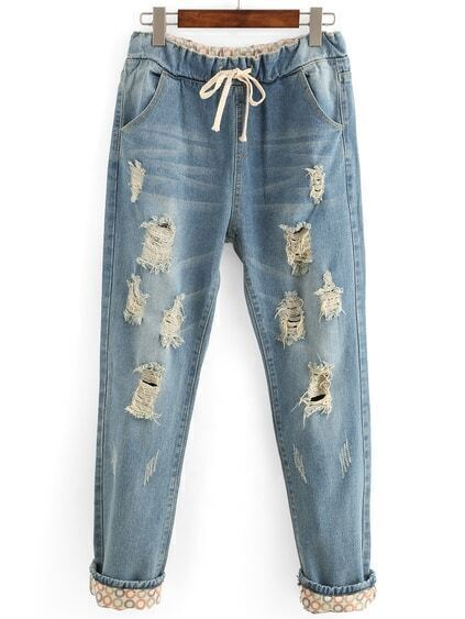 Distressed Drawstring Waist Boyfriend Jeans