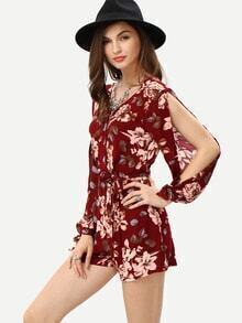 Surplice Front Slit Shoulder Flower Print Romper