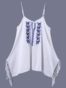 White Embroidery Fringe Side Spaghetti Strap Blouse