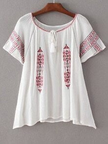 White Short Sleeve Tie Neck Tassel Embroidery Blouse