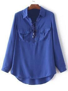 Blue Pockets Lace Up Front Long Sleeve Blouse