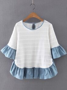 Multicolor Ruffle Bell Sleeve Knit Jacquard Blouse