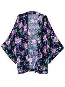 Multicolor Flowers Print Bell Sleeve Cardigan Kimono