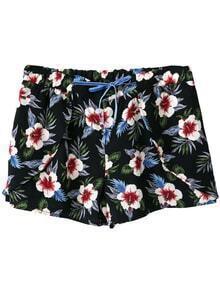 Multicolor Pockets Tie-Waist Flowers Print Shorts