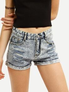Frayed Rolled Hem Snow Wash Denim Shorts
