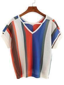 Jersey strappy escote V manga corta color combinado