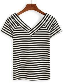 Doublle V-Neck Striped T-shirt