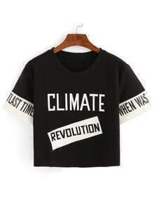 Contrast Letter Print Crop T-shirt