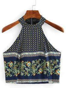 Halter Neck Flower Print Top
