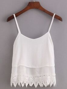 Lace Trimmed Layered Chiffon Cami Top