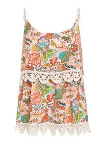 Crochet Trimmed Layered Flower Print Cami Top