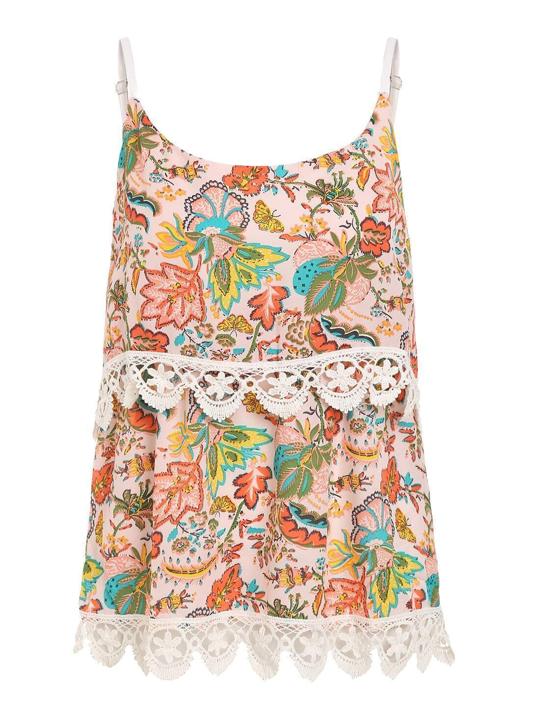 Crochet Trimmed Layered Flower Print Cami Top