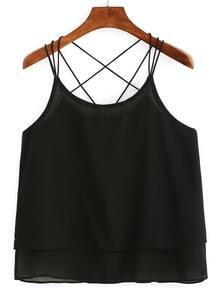 Caged Layered Chiffon Cami Top - Black