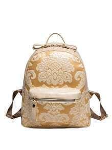 Flower Embossed Backpack - Beige