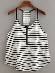 Zip Front Racerback Striped Cami Top