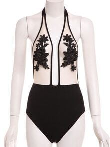 Contrast Flower Embroidered Mesh One-Piece Swimwear