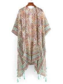 Tribal Circle Print Tassel Trimmed Kimono