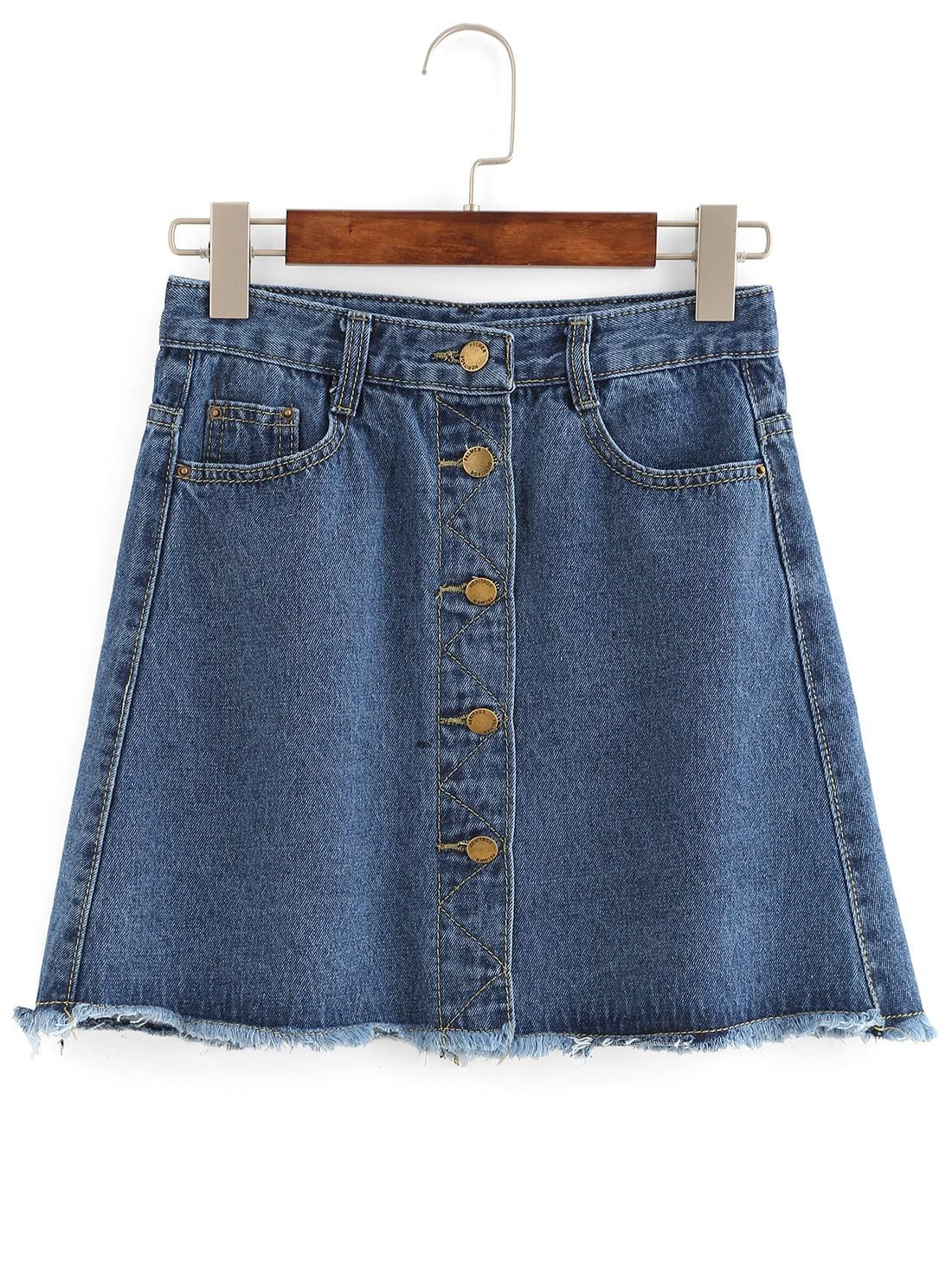 Buttoned Front Raw Hem A Line Skirt