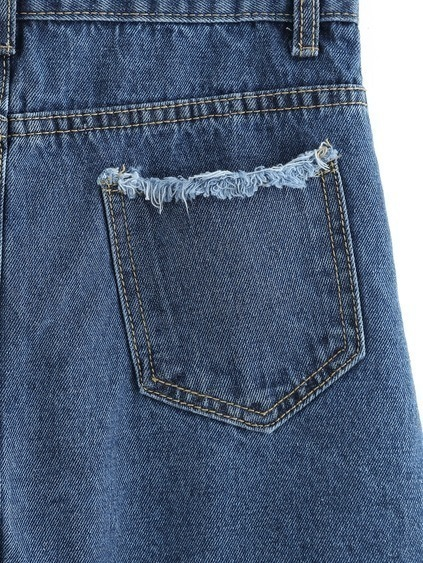 Buttoned Front Raw Hem A-Line Skirt