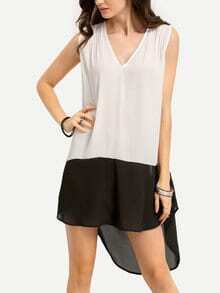 Black White Contrast Dip Hem V Neck Shift Dress