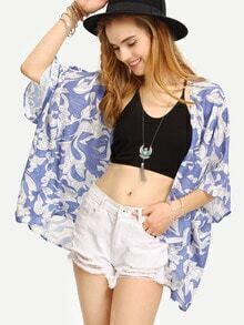 Multicolor Short Sleeve Floral Print Kimono