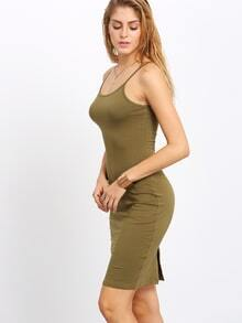 Army reen Spahetti Strap Casual Bodycon Dress