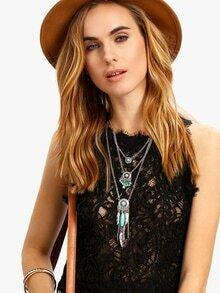 Turquoise Multi-layered Charm Pendant Necklace