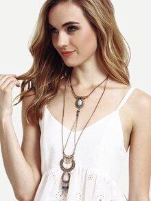 Ancient Gold Layered U-Shaped Turquoise Pendant Necklace