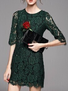 Green Crew Neck Beading Lace Dress