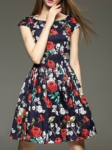 Navy Elastic-Waist Floral A-Line Dress