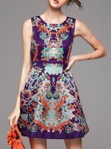 Purple Jacquard Pockets A-Line Dress