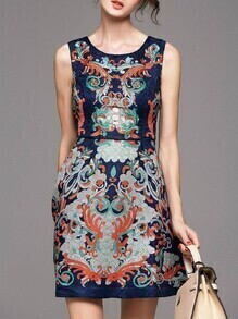 Navy Jacquard Pockets A-Line Dress
