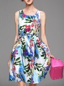 Multicolor Tank Neck Tie-Waist Floral Dress