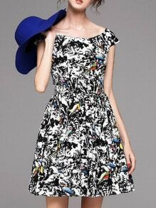 Black Elastic-Waist Print A-Line Dress