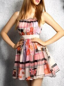 Multicolor Strap Print A-Line Dress