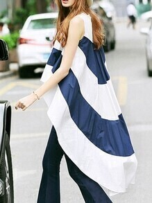 White Navy Striped High Low Blouse