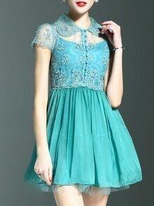 Mint Lapel Gauze Embroidered A-Line Dress