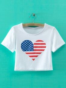 White Short Sleeve Heart Flag Print Crop T-shirt