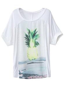 White Short Sleeve Pineapple Print T-shirt