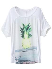 White Short Sleeve Pineapple Print T-shirt